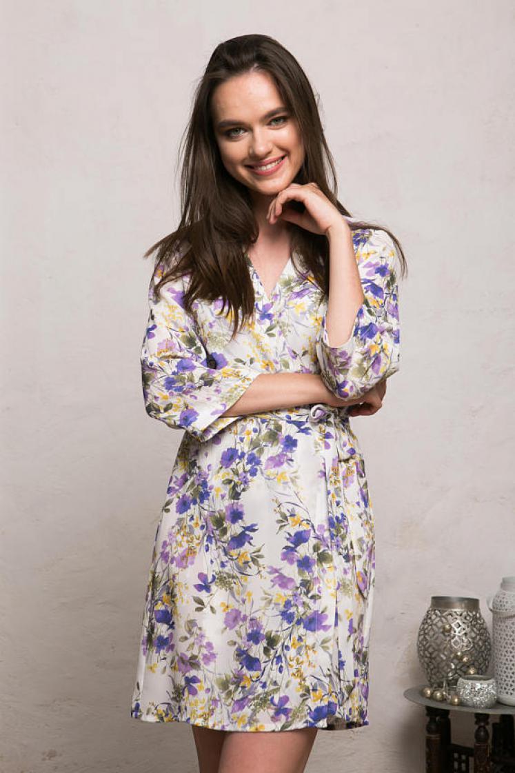 9621ab3a72 Now £39. Cream Floral Robe. Crepe Kimono